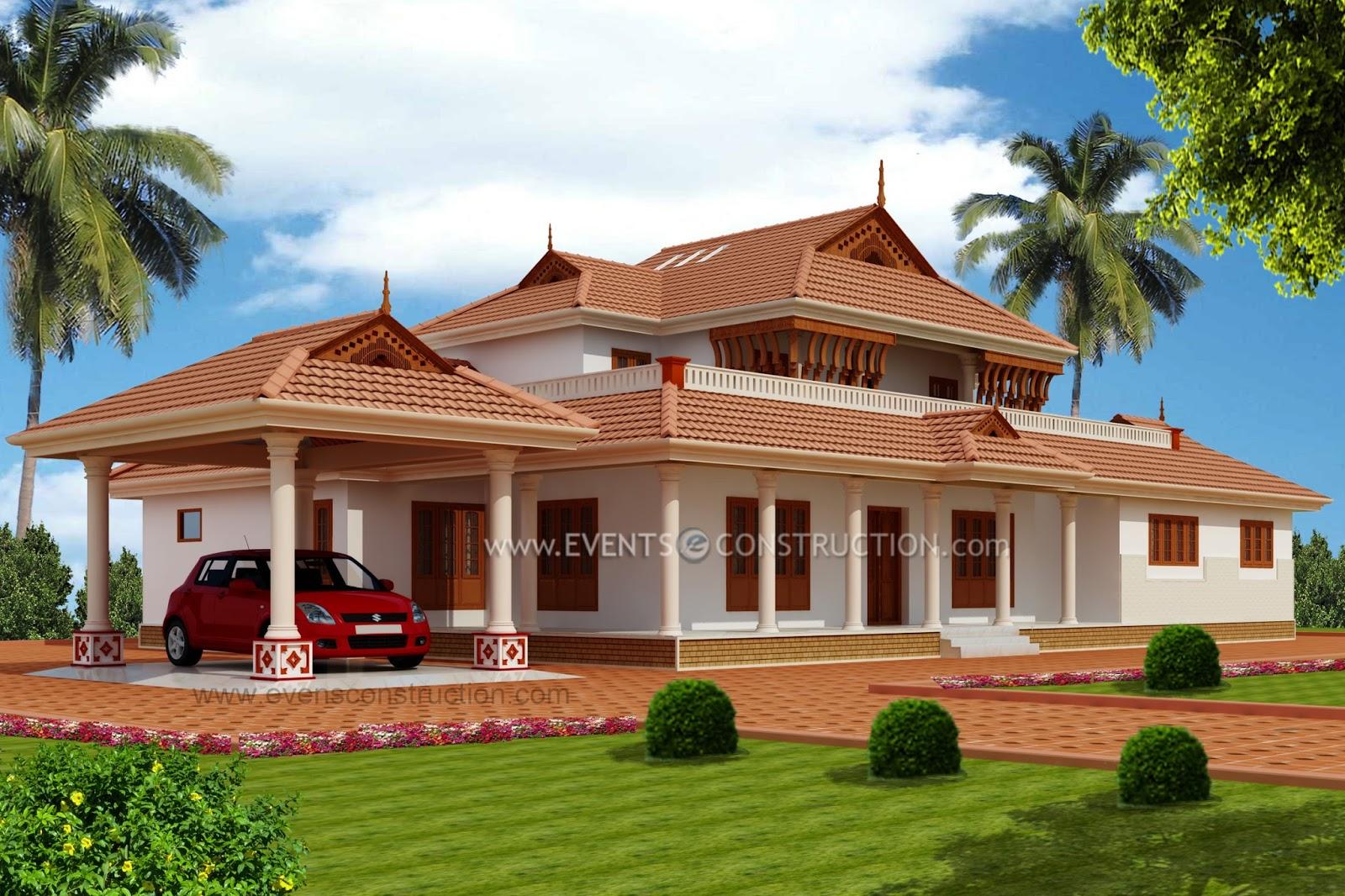 Evens Construction Pvt Ltd Traditional Kerala Mix House