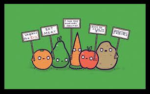verduras y frutas protestan ante los vegetarianos, veganos... / veggies protest