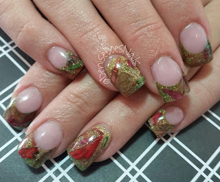 fall nails with real leaves