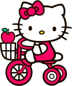 Hello Kitty con su bicicleta