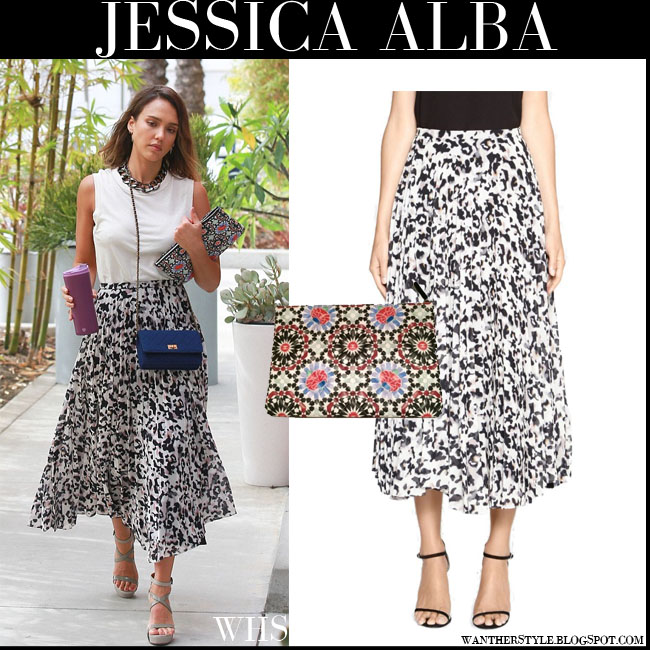 Jessica Alba in white black print maxi pleat Camilla and Marc Superior skirt and white top what she wore july 30