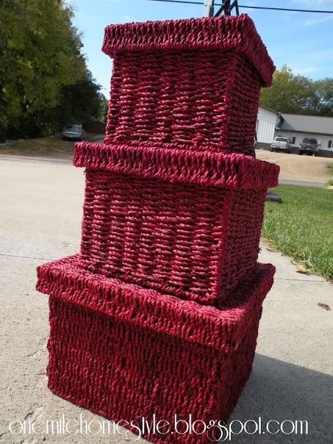 Red nesting baskets