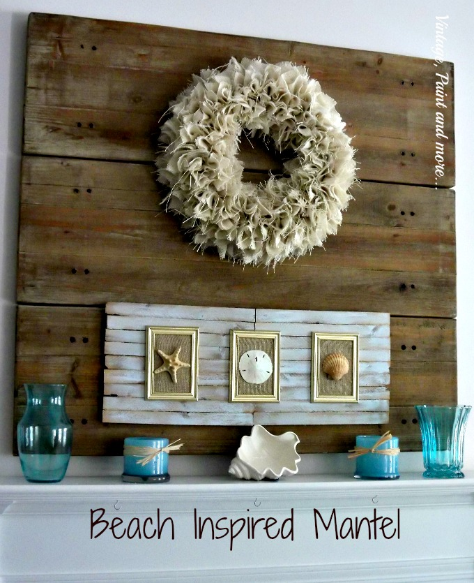 Vintage, Paint and more... burlap wreath, faux pallet board background, mod podge vases