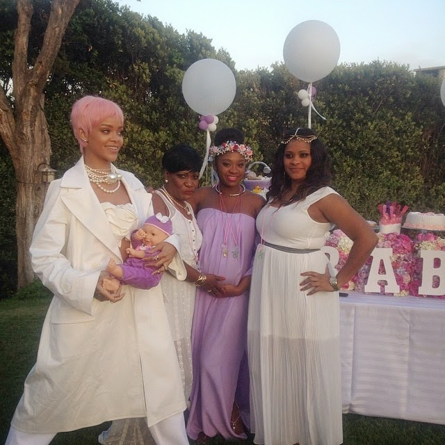 The Guests Were Asked To Wear White While The Mom To Be Wore A Lavender  Dress With Matching Floral Headpiece. That Chanel Pearl Necklace That  Rihanna Is ...