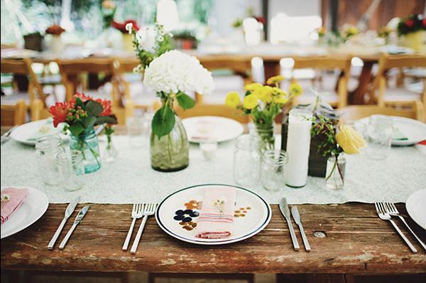 farm table at wedding