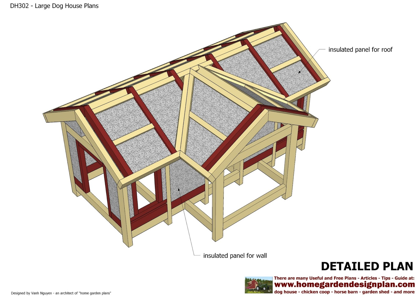 Home garden plans dh302 insulated dog house plans for Insulated dog house plans pdf