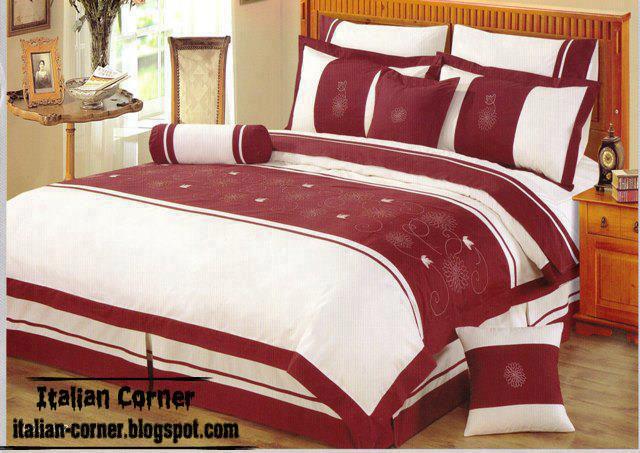 Italian red duvet cover sets model red and white duvet cover