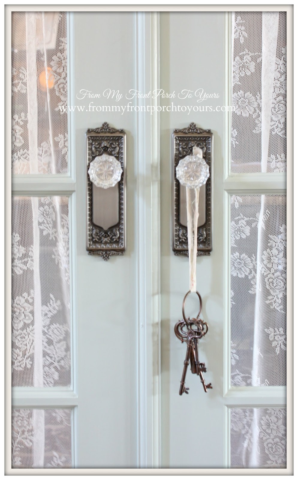 French Farmhouse- SW Rainwashed-House of Antique Hardware Crystal Knobs-DIY Faux Brick Wall- From My Front Porch To Yours