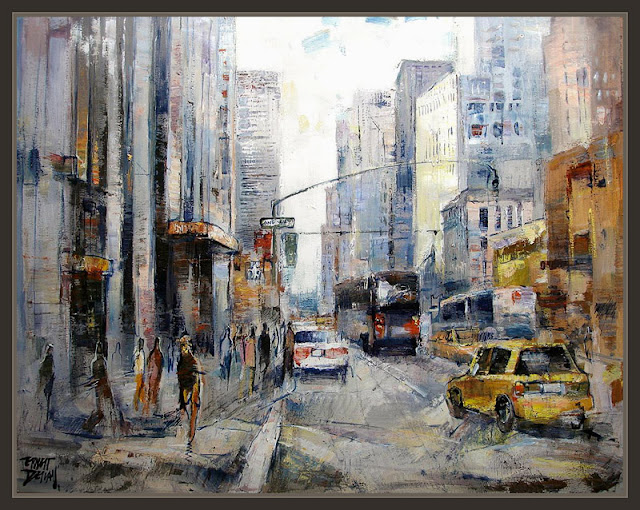 NEW YORK-NUEVA YORK-PINTURA-PAINTINGS-BROADWAY-TIMES SQUARE-PINTOR-ERNEST DESCALS-