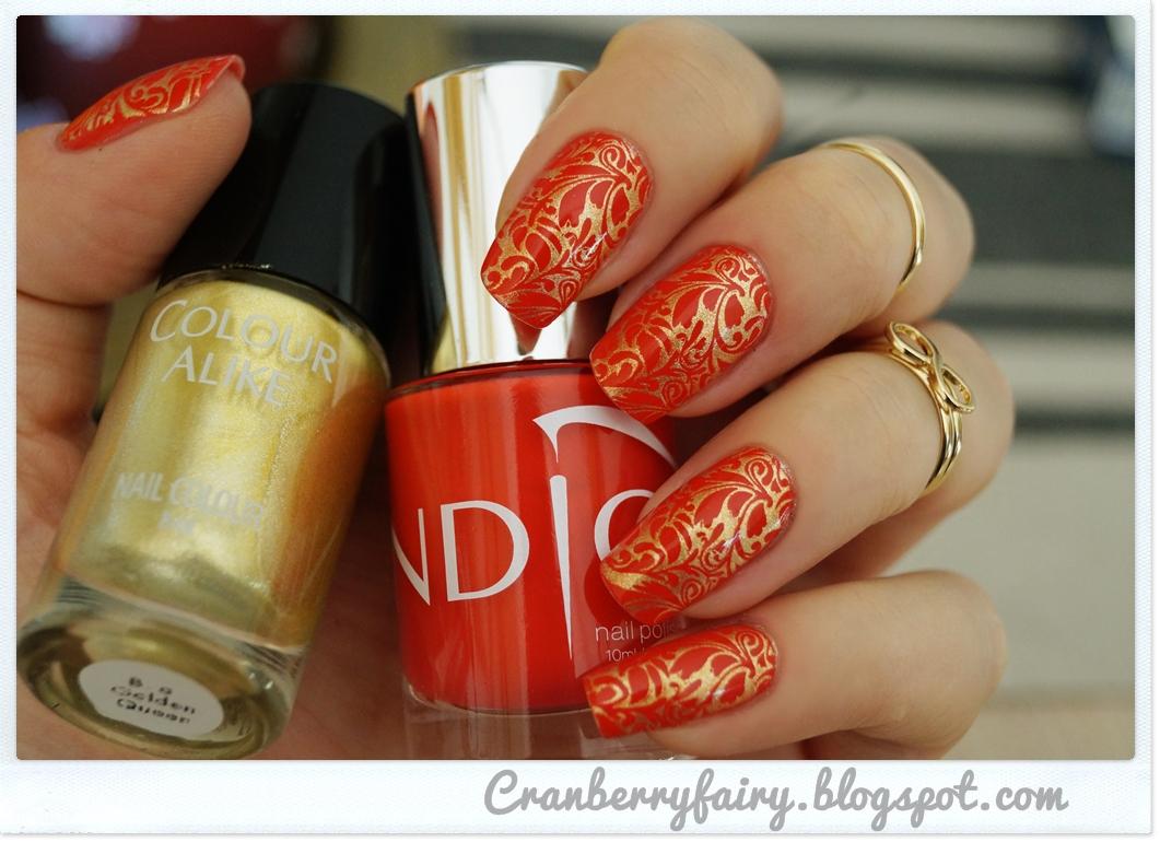 Cranberry Fairy Eleganckie Połączenie Złota I Czerwieni Na Paznokciach