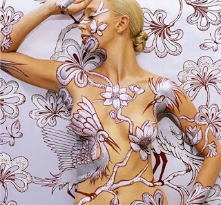 Bird and Flower Body Paint Body Covering