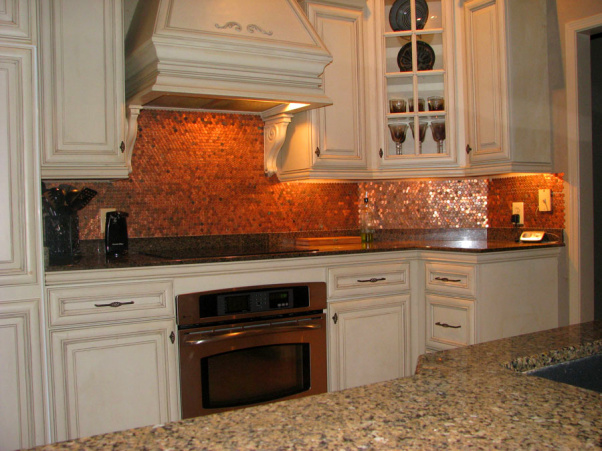 Glamour begins at home my lucky penny for Copper penny tile backsplash