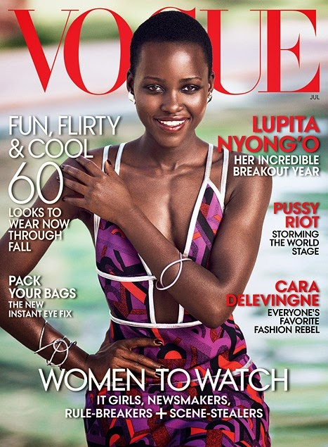 lupita nyongo, lancome, twelve years a slave, black woman on vogue, vogue magazine cover star, july issue