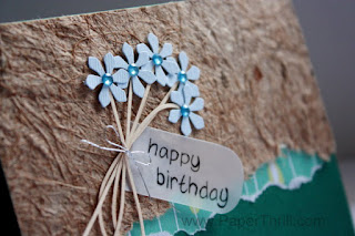 Handmade birthday cards green blue daisies flowers
