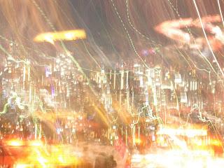 未来都市、梅田のビル群の夜景?