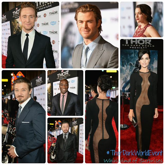 Jaimie Alexander's daring dress, Jeremy Renner, Chris Helmsworth, Tom Hiddleston and more at the #ThorDarkWorldEvent red carpet premiere