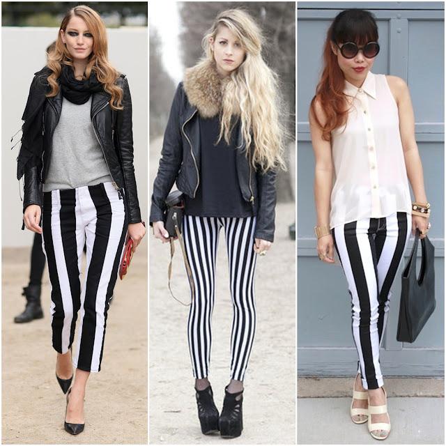Dikine çizgili siyah beyaz pantolon kombinleri