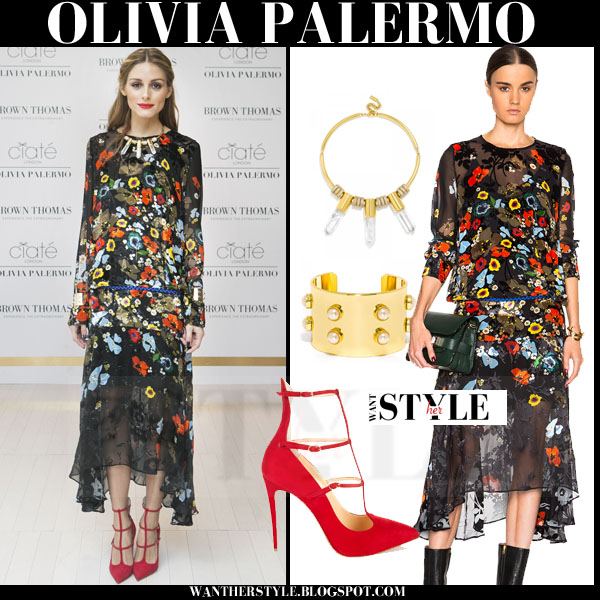 Olivia Palermo in black floral print Preen dress and red suede pumps christian louboutin toerless what she wore red carpet style