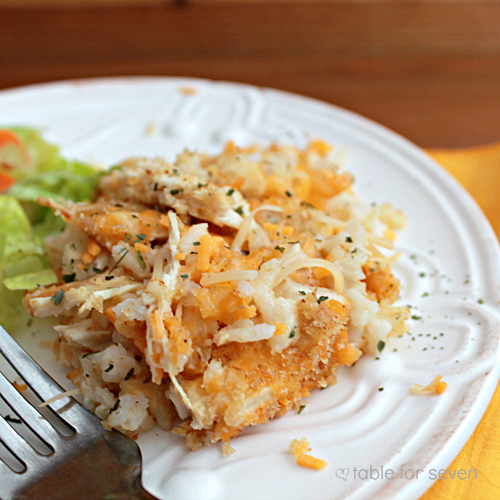 Cheesy Chicken and Rice Casserole • Table for Seven