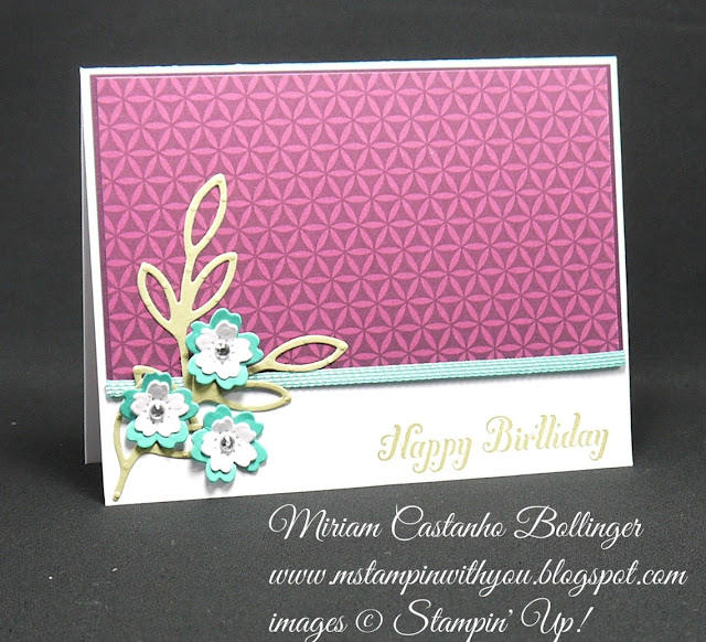Miriam Castanho-Bollinger, #mstampinwithyou, stampin up, demonstrator, ccmc, birthday card, bohemian dsp, bloomin' heart thinlit, rose garden thinlits, big shot, su
