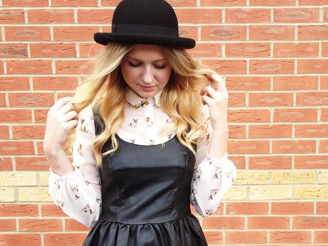FashionFake, leather dress, leather trend, Topshop bowler hat, dog print shirt, fashion blog UK, street style, ombre hair