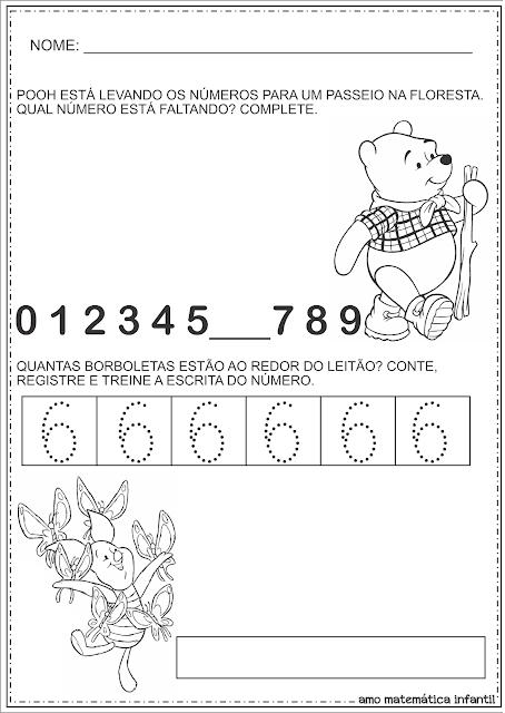 Trabalhando Número 6 Atividades Pooh