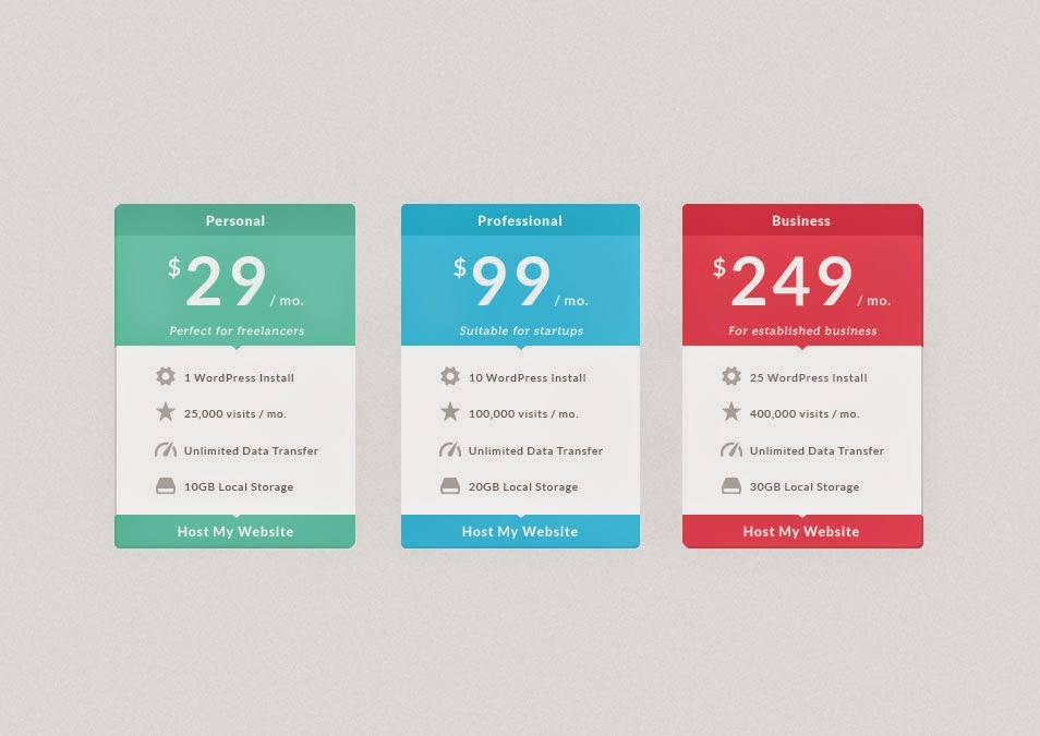 Flat Pricing Table psd