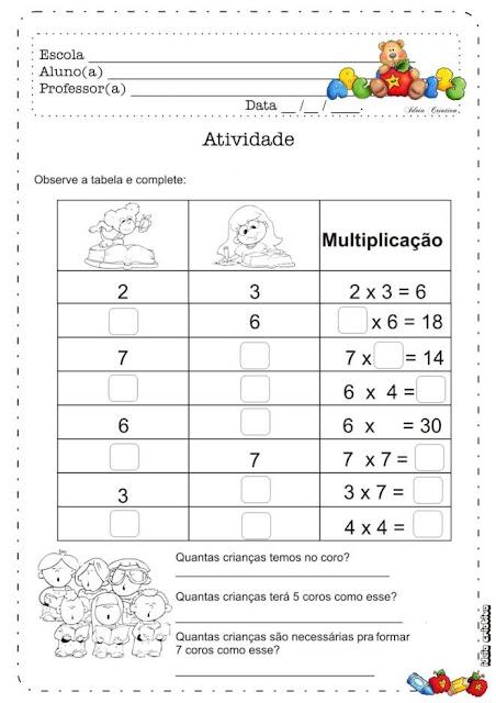 Atividade Multiplicação para 3º, 4º e 5º ano