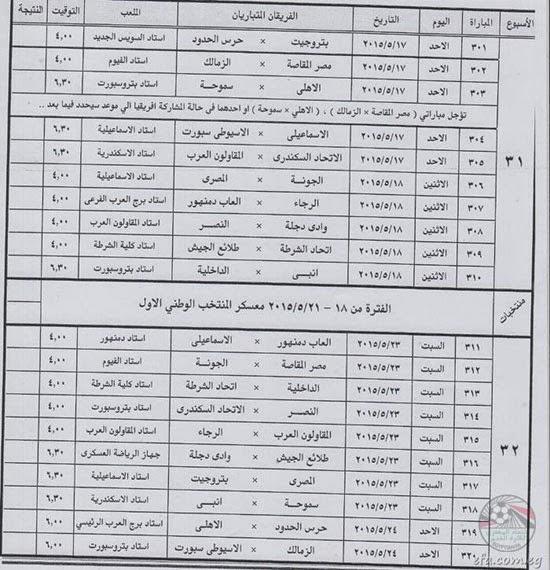 جدول مباريات دورى مصر2015 4201516151010ج%
