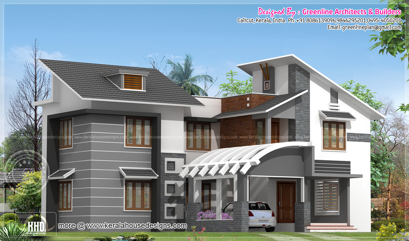 Modern kerala house exterior in 2750 home kerala plans - Exterior paint calculator square feet model ...