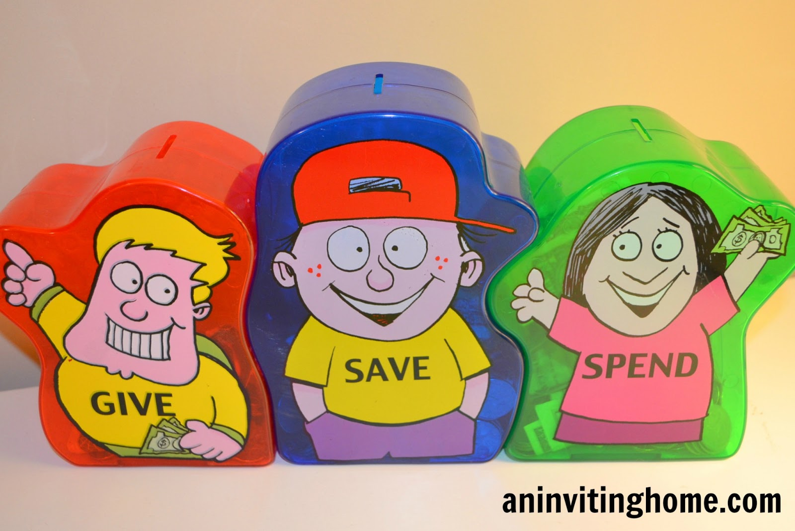 kid's piggy banks give save spend