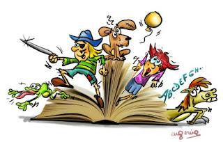 personajes saliendo de un libro