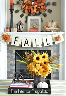 Decorating the mantle for Fall for the Power Tool Challenge