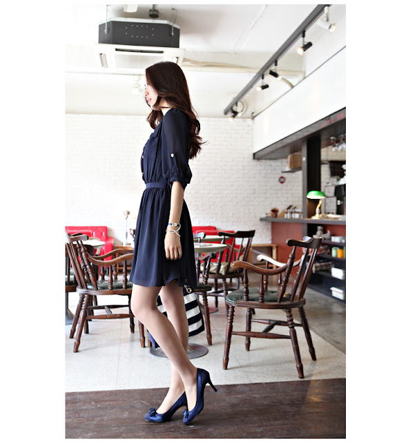 Elegant Buttons Embroider Tucked Chiffon Dress - Navy