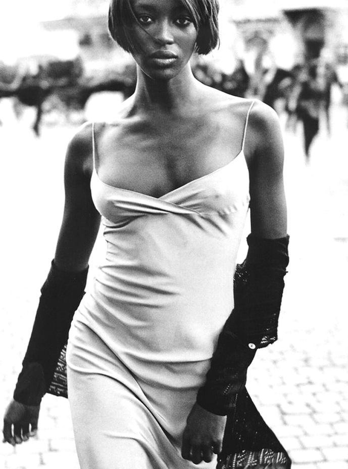 Naomi Campbell in Fresh Tones editorial | Harper's Bazaar February 1997 (photography: Peter Lindbergh, styling Tonne Goodman)