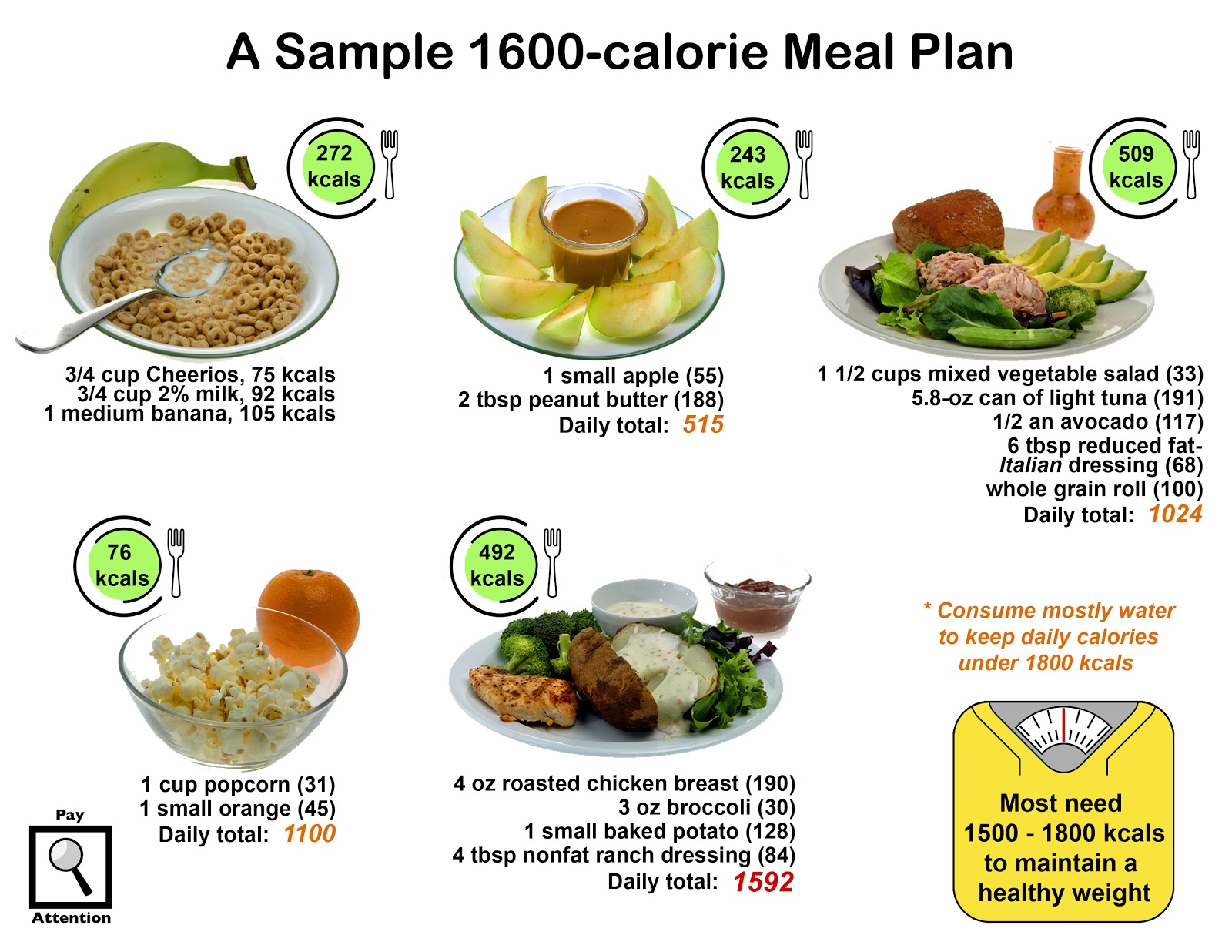 8 Habits to Health: Sample 1600-kcal Meal Plan (Habit ...