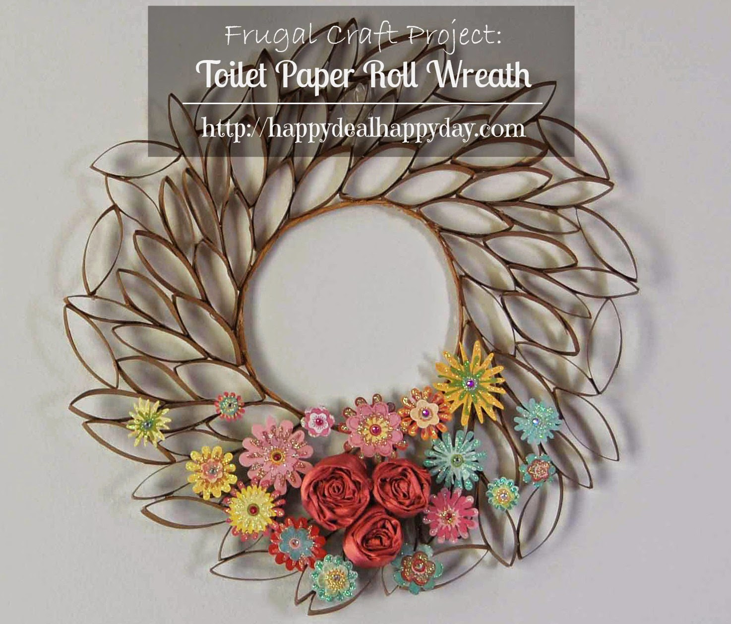 http://happydealhappyday.com/toilet-paper-roll-craft-toilet-paper-roll-wreath/