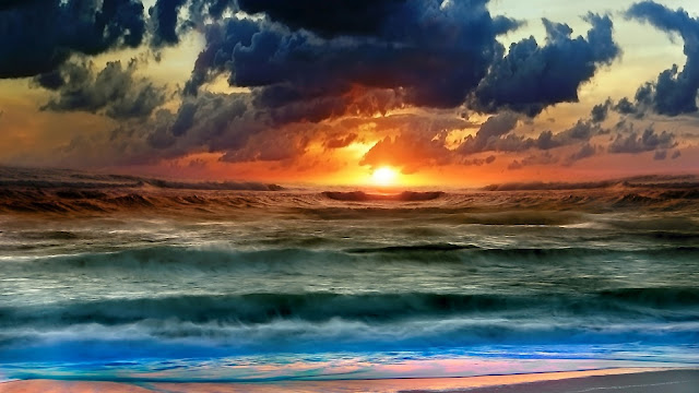 Waves sunset / nature wallpaper