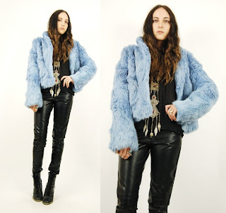 Vintage 1990's fluffy sky blue rabbit fur coat.
