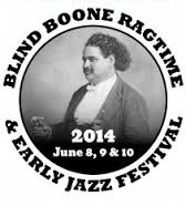 black and white image of man sitting holding a cane. Written on logo it says: Blind Boone Ragtime & Early Jazz Festival
