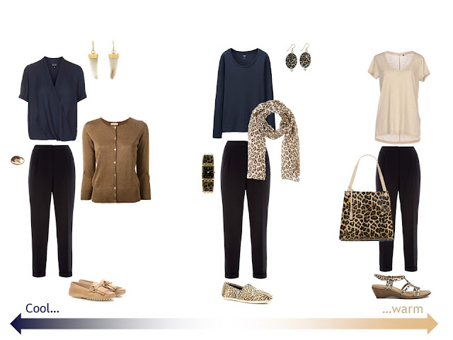 3 outfits with navy trousers and leopard accessories