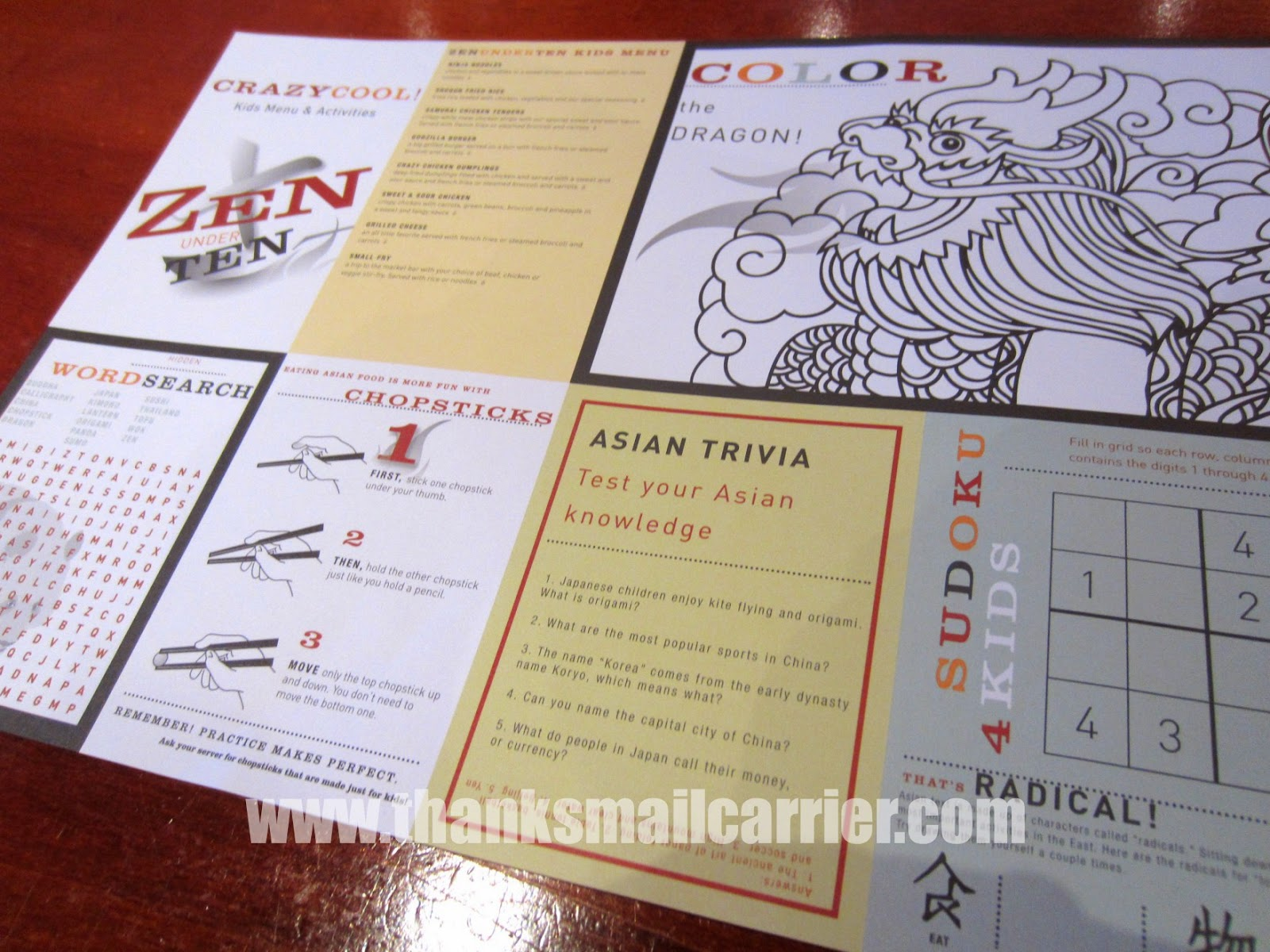 Stir Crazy children's menu