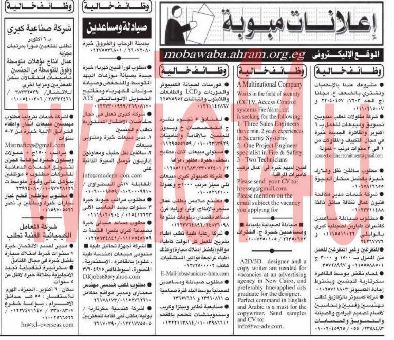وظائف جريدة الأهرام الجمعة 1 مارس 2013 -وظائف مصر الجمعة 1-3-2013