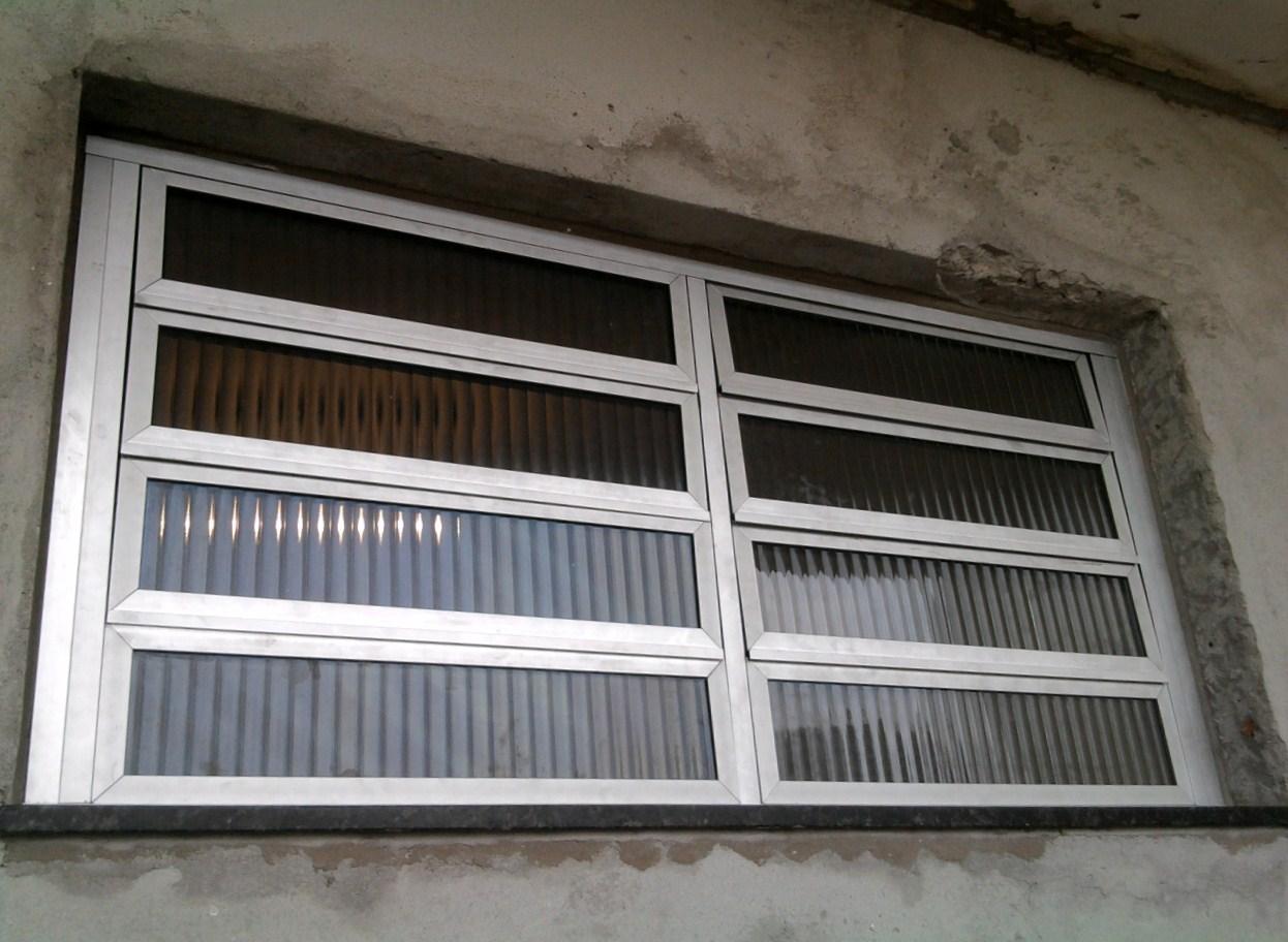 #5B5041  02 modulos de 04 folhas linha 25 anodizado fosco com vidro canelado 1654 Janela De Aluminio Linha 25