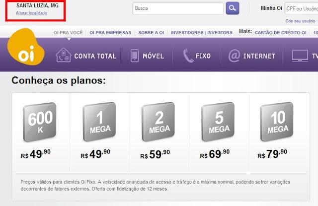 Site da OI oferece diversas faixas de velocidade da internet para Santa Luzia