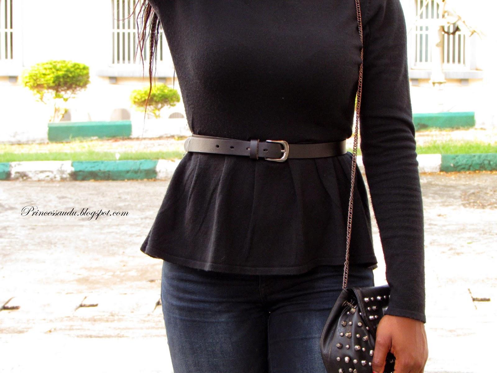 peplum top, skinny jeans, choies, black pumps, leopard print scarf
