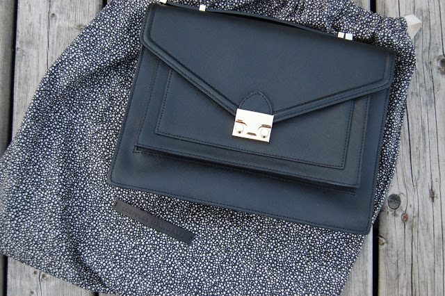 Black saffiano leather Loeffler Randall Rider satchel
