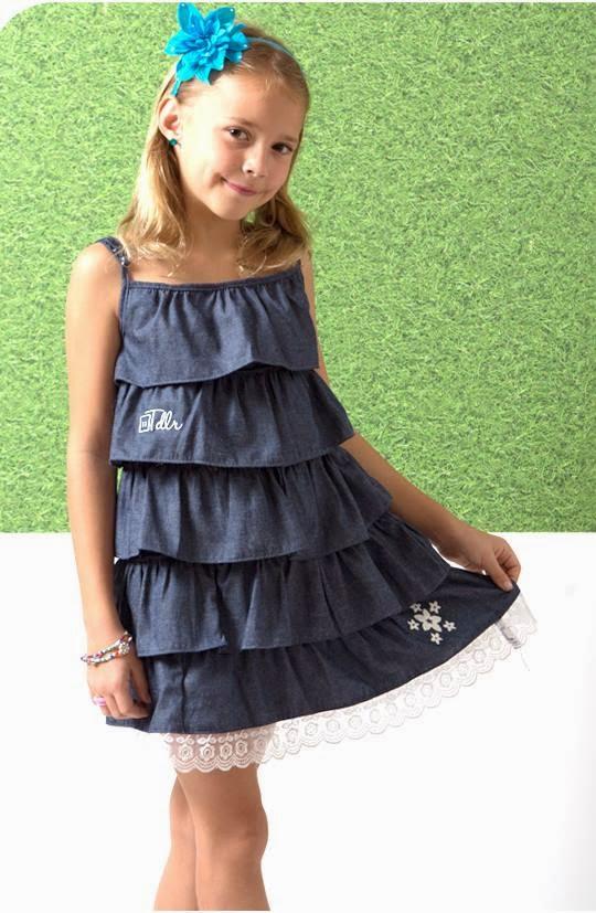 Dress anak model ruffled bahan katun denim