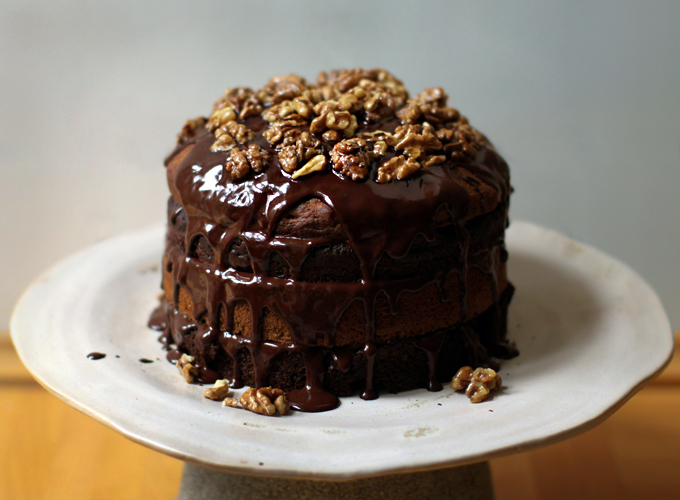 Chocolate Banana Birthday Cake with Maple Glazed Walnuts My New Roots