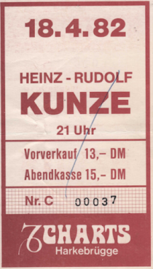 Heinz Rudolf Kunze 1982 im Charts